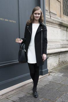 Sleek white and black style  - Model #Streetstyle at Paris Fashion Week #PFW