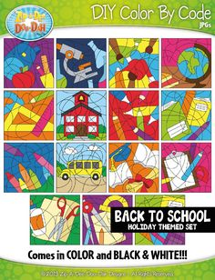 BACK TO SCHOOL Create Your Own Color By Code Clipart Set