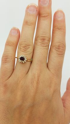 14K Yellow Gold  HEART Cut  PRONG-SET RUBY DIAMOND COCKTAIL ring