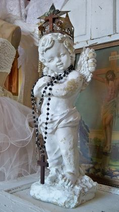 French Nordic cherub statue white distressed by AnitaSperoDesign, $280.00