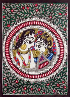 Modern Folk Embroidery Radha Krishna - The Divine Lovers - Folk Art Paintings (Madhubani Folk Art on Paper - Unframed) Krishna Painting, Madhubani Painting, Krishna Art, Krishna Drawing, Indian Traditional Paintings, Indian Art Paintings, Traditional Art, Zentangle, Madhubani Art