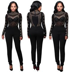06de902a315 Autumn Women Jumpsuit Long Pants Romper 2016 Mesh Studded Sleeve Turtleneck  Solid Sexy Night Club Elegant Slim Jumpsuits Overall
