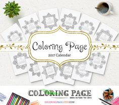 Oct SALE! FREE 2017 Printable Coloring Calendar w. purchase over $10! Printable Coloring Page Instant Download