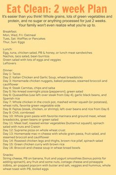2 weeks worth of meal plans (breakfast, lunch, dinner, and snacks) with recipes and tips for eating more healthy. Perfect thing to do to loose a little weight before Thanksgiving (the healthy way!) and all the meals are super family-friendly by jaclyn