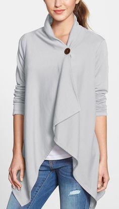 Grey Asymmetrical Fleece Wrap Cardigan