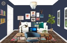 Eclectic Havenly Home Study with Gallery Wall
