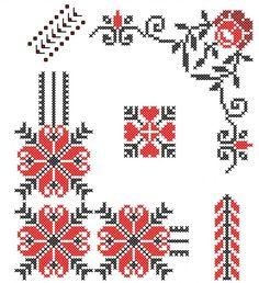 Cross Stitch Borders, Cross Stitch Designs, Cross Stitching, Cross Stitch Patterns, Hand Embroidery Stitches, Ribbon Embroidery, Cross Stitch Embroidery, L'art Du Ruban, Palestinian Embroidery