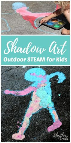 Shadow Sidewalk Chalk Art Shadow art outdoor science is a hands-on STEAM activity that will help children learn about shadows while making art. A fun outside art and science activity for toddlers to adults! Science Activities For Toddlers, Steam Activities, Outdoor Activities For Kids, Outdoor Learning, Science For Kids, Kids Learning, Art For Kids, Summer Activities, Science Art