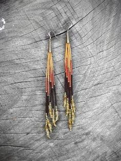Long Seed Bead Earrings, Fringe Earrings, Beaded Shoulder Duster, Tribal Jewelry, Fall Fashion, Citrine Stone, Earthy, Gold, Espresso by wanting