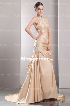 Brilliant Champagne Mermaid Wedding Gown With High Neckline And Appliqued Motifs