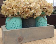 Painted Mason Jar Decor, Mason Jar Centerpiece, Floral Centerpiece, Mason Jars, Rustic Decor, Mason Jar Decor, Table Decor, Planter Box