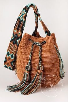 Mexican Crochet Boho Bag / Many colors available / Cross body bag / Boho Bucket Bag / Mexican Colorful Macrame / Ready for shipping : Mexican Crochet Bag / Cross body bag / Brown Bag / Gift for her / Brown with Blue Tassels / Mexican Crochet Gifts, Crochet Bags, Crochet Clothes, Bucket Bag, Hand Knitting, Knitting Patterns, Crochet Patterns, Boho, Crochet Cross