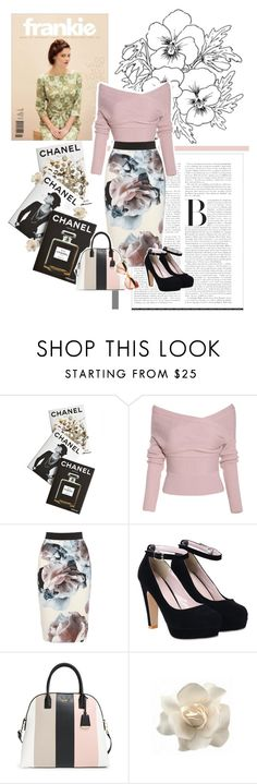 """""""Untitled #387"""" by kelciec-ya ❤ liked on Polyvore featuring Assouline Publishing, Kate Spade, Clips, Gucci, Pink, Flowers, pencilskirt, flowerprint and offshoulder"""