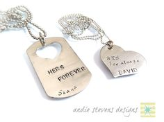 Personalized Hand Stamped Couples Necklace by andiestevensdesigns, $35.00