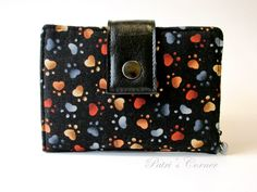 Handmade women wallet - small and slim - Paw prints - best friend paws - ID…