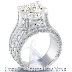 6.18 Carat K-VS2 Certified Natural Round Diamond Engagement Ring 14k White Gold - Vintage Style Engagement Rings - Engagement - Lioridiamonds.com