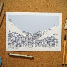 """Ilustração """"Morro"""" da coleção de ilustrações """"Cidades Azuis"""" por Gabriel Dyonisio."""
