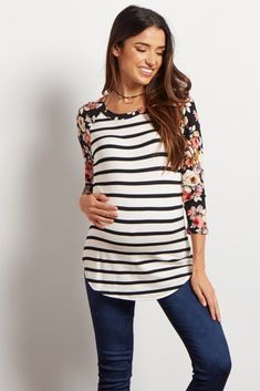 Ivory-Floral-Striped-Colorblock-Top