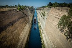 corinth canal #greece from #500px #landscape #landscape_lovers #canals #colorful #colors...