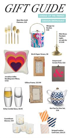 Gift Guide: Design Enthusiast--Love the silverware, business card holders and glasses!!!
