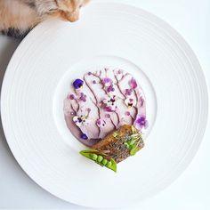 Citrus & lavender marinated Barramundi w/ sweet potato puree and sweet lavender caviar by @snowcology_ and #TheArtOfPlating