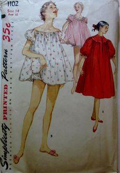 Simplicity 1102 Shortie Nightgown Panties 1950s by Denisecraft, $7.99