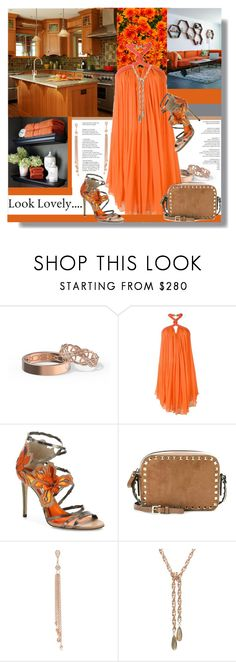 """""""Look Lovely... Orange, Natural & Rose Gold"""" by helenaymangual ❤ liked on Polyvore featuring Jay Ahr, Jimmy Choo, Valentino and Jacquie Aiche"""