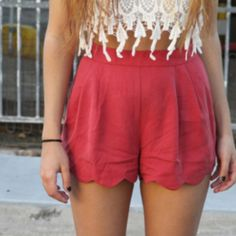 shorts coral high waisted shorts round fabric high waisted shorts coral