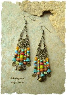 Boho Hippie Chandelier Earrings, Colorful Bohemian Assemblage Earrings, Urban…