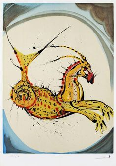 Lithograph by Salvador Dali, Capricorn from Signs of the Zodiac on Amorosart Zodiac Capricorn, Zodiac Art, Zodiac Signs, Salvador Dali Art, Oeuvre D'art, Mystic, Alchemy, Paintings, Archer Tattoo