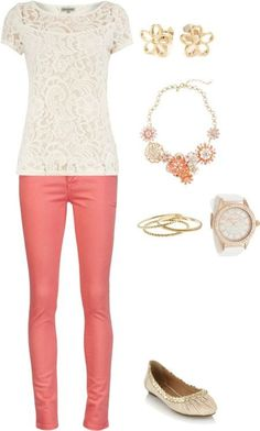 Love the shortsleeve lace top paired with colored coral pants.