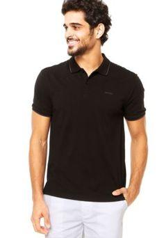 Camisa Polo Manga Curta Calvin Klein Jeans Logo Preta Comprar Roupas b5d36593e70e9