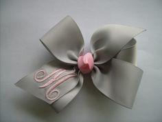 Gray and Pink Monogrammed Hair bow.. U choose formal initial. $4.98, via Etsy.