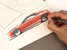 A video demo by design instructor Marouane Bembli who draws and renders a car in side view using a BIC pen and markers. Car Design Sketch, Car Sketch, Car Side View, Bic Pens, Reverse Trike, Automotive Art, Marker Art, Sidecar, Design Tutorials