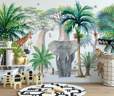 kleinkind zimmer Nature, jungle and animals become a great media for children's learning. But you don't have to really take them through dense jungle or get them to play with Jungle Baby Room, Jungle Theme Nursery, Jungle Kids Rooms, Baby Room Themes, Baby Room Decor, Safari Bedroom, Boys Jungle Bedroom, Baby Bedroom, Deco Jungle