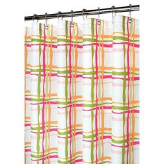 Watershed Prints Wavy Plaid Shower Curtain Color: Tangelo