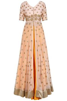 PRIYANKA JAIN Peach gota patti embroidered jacket and mustard skirt set available only at Pernia's Pop Up Shop. Indian Attire, Indian Ethnic Wear, Indian Outfits, Anarkali Dress, Red Lehenga, Lehenga Choli, Indian Gowns Dresses, Pakistani Dresses, Western Dresses