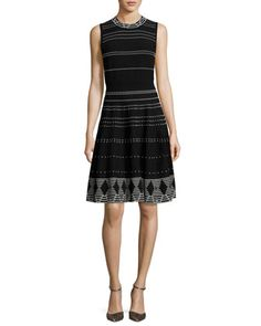 sleeveless+textured+fit-and-flare+dress,+black/cream+by+kate+spade+new+york+at+Neiman+Marcus.