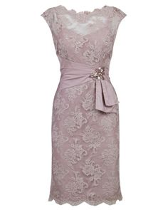 Anthea Crawford - Lush Beaded Lace Dress with Taffeta Waist Detail
