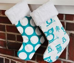 Turquoise Christmas Stockings in Dandi Dot and Hootie Owl no.191 no.221. $25.00, via Etsy.
