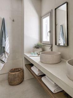 Bathroom space Phos House by Stone & Walls, Greek Islands est living Bad Inspiration, Bathroom Inspiration, Interior Inspiration, Interior Ideas, Modern Bathroom Decor, Bathroom Interior Design, Bathroom Ideas, Bathroom Shelves, Budget Bathroom