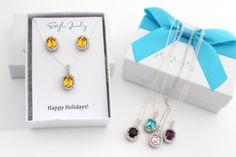 Christmas Gift For Her, Christmas Gift for Mom, Christmas Gift for Wife, Christmas Gift for Girlfriend, Swarovski Necklace, Earrings Silver