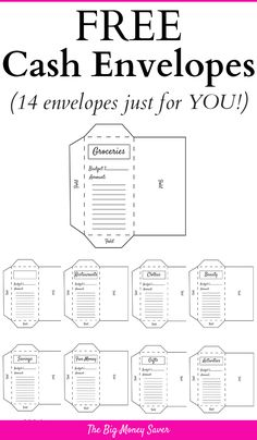 Get 14 FREE Cash Envelopes For Your Money! Tired of going over budget? What you need are these cash envelopes! They're FREE & exactly what you need to get control over your money. Budget Envelopes, Money Envelopes, Cash Envelope Budget, Planning Budget, Budget Planner, Financial Planning, Budget Book, Budget Binder, Financial Tips