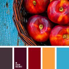 бордовый, вишневый, голубой, красный, медово-оранжевый, насыщенные тона, оранжевый, серо-бордовый, сливовый цвет, тёмно-красный, цвет вишни, яркий голубой.