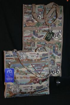 Lot NEW Canvas Shopping Travel Wheeled TOTE Folding & Tote Bag Tapestry Route 66