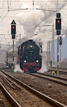 "Chartered train from "" Historische Eisenbahn Frankfurt "" with traction engine ""52 4867"" and historic carriage. Germany"