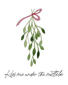 Kiss Me Under the Mistletoe | Christmas Printable | Christmas Home Decor | Holiday Wall Art