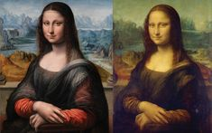 A copy of the Mona Lisa in the Prado Museum (left) is painted from a slightly different perspective than the original in the Louvre (right)....