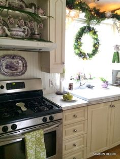 Beau A Holiday Kitchen With Fresh Greens And Old Purple Dishes! A Moss Monogram  From HomeGoods