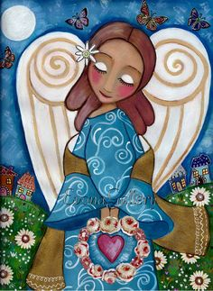 """Folk Art Painting,"""" Angel of Love"""", Print (9x12inches, 23x31cm), Mixed Media, Wall Decore by Evona"""
